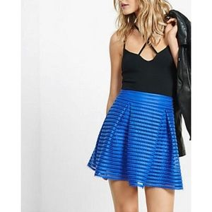 Express blue mesh high waisted pleated skirt 6